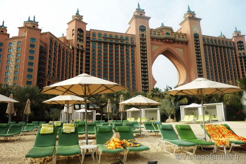 La plage réservée au Club Impérial de l'hotel Atlantis The palm de Dubai