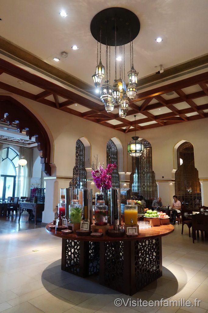 Choix des jus de fruits au petit déjeuner du Palace Downtown Dubai