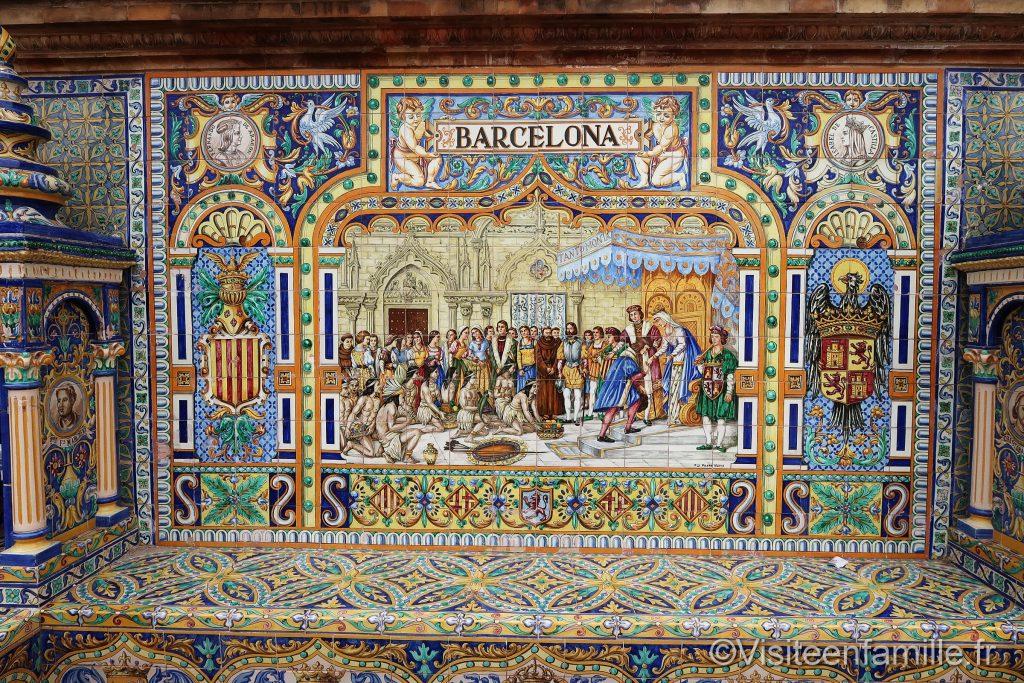 Mosaique à seville sur La Plaza de España