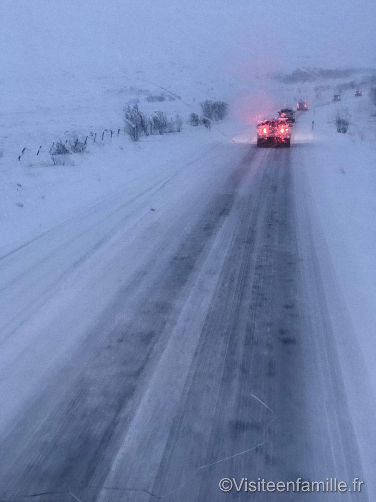 Route enneigé en Islande