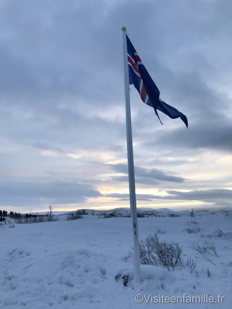 Gros plan drapeau Islande Golden circle