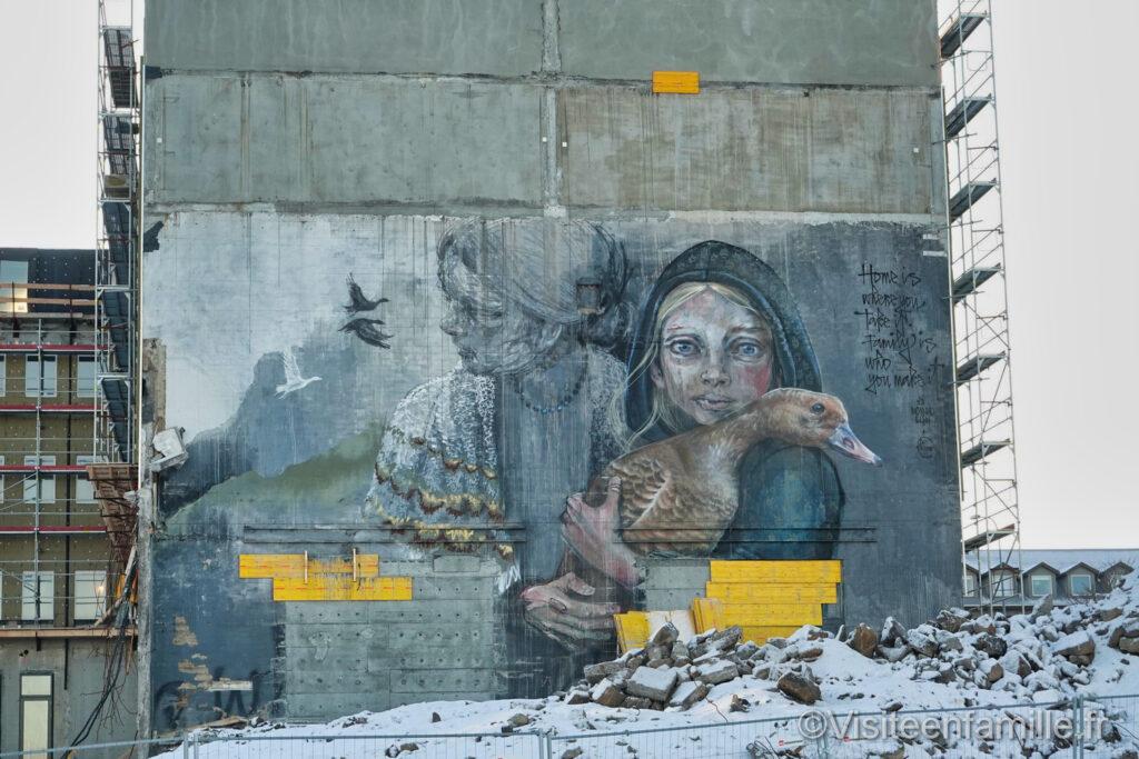 fresque murale poétique Reykjavik