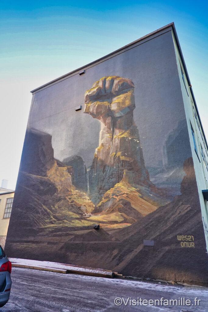 fresque murale poing levé Reykjavik