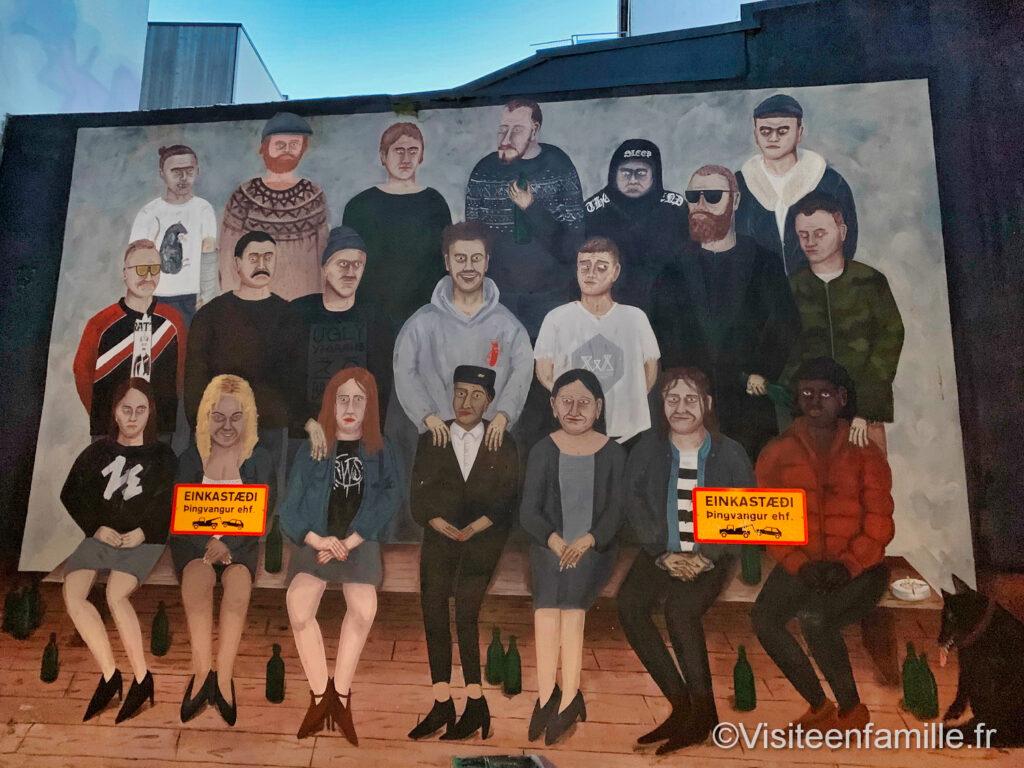 portrait de famille street-art Reykjavik